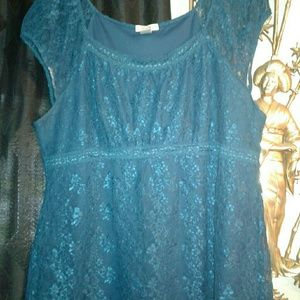 Fashion Bug Teal Plum Lace Blouse XL
